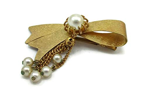 VANY Gold Pearl Hair Clip Satin Gold Finish Hair Barrette Boho Gypsy Vintage Hair Adornments Bobby Pins Clips Accessories