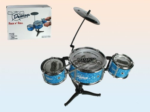 Out of the blue 76/6173 - Mini-Schlagzeug, Desktop Drumkit mit 2 Drumsticks, circa 44 x 34 cm