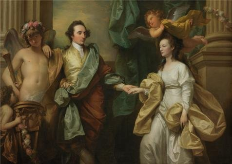 The Huge Quality Polyster Canvas Of Oil Painting 'Benjamin West,Mr.and Mrs.John Custance,1778' ,size: 16x23 Inch / 41x57 Cm ,this Imitations Art DecorativeCanvas Prints Is Fit For Kids Abide Decoration And Home Decoration And Gifts