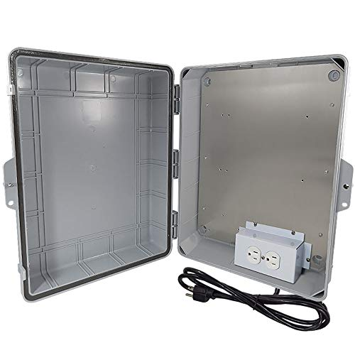 Altelix NEMA Enclosure 17x14x6 (11.5 x 9 x 4.5 Inside Space) Polycarbonate + ABS Weatherproof with Aluminum Equipment Mounting Plate, Pre-Wired 120 VAC Outlets, 5 Foot Power Cord