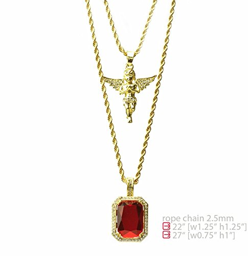 Angel Ruby Necklace - Hip Hop Iced Out 14K Gold Plated Baby Angel & Red Ruby 22