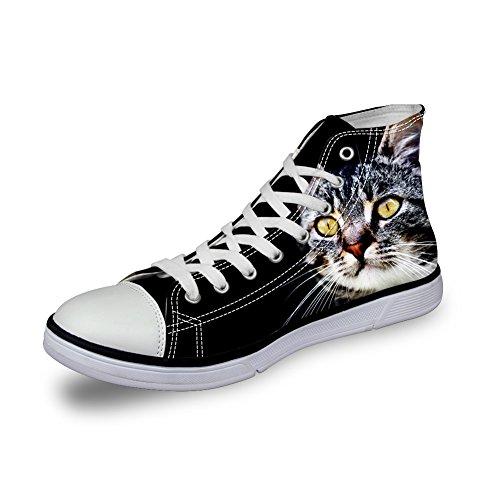 ガロンゆり製造ThiKin スニーカー キャンバス シューズ ブラック 猫 個性的 かわいい 動物 柄 シンプル 3Dプリント カジュアル 靴 軽量 通気 おしゃれ ファッション 通勤 通学 プレゼント メンズ