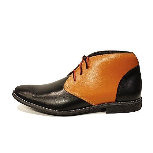 PeppeShoes Modello ilario - Handmade Italiennes Cuir Pour des Hommes Orange Bottes Chukka Bottines - Cuir de Vachette Cuir Souple - Lacer