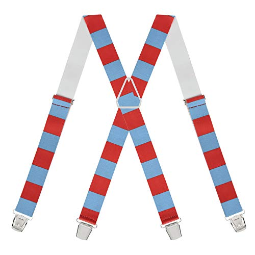 HDE Men's Novelty Thing Stripe Suspenders Blue Red Halloween Braces -
