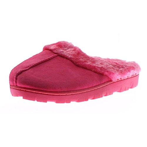 Met Pluizende Kunstleer Beklede Muilezelspantoffels Roze