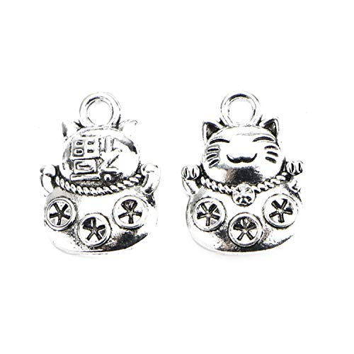 Monrocco 50Pcs Antique Silver Tone Cat Charm Lucky Charm Animal Charm Pet Charm for Bracelet Jewelry Making (Cat Tone Charm)