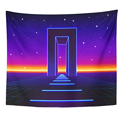 Sci Fi Landscape - Emvency Tapestry Wall Hanging Neon 80S Styled Massive Gate in Retro Game Landscape Shiny Road 50