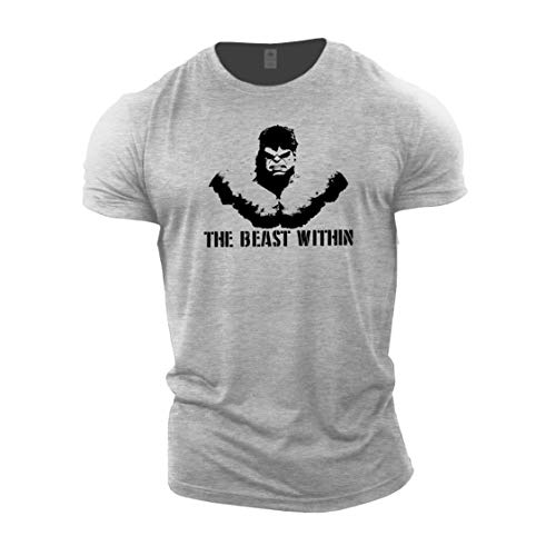 GYMTIER Mens Bodybuilding T-Shirt - Beast Within - Gym Training Top