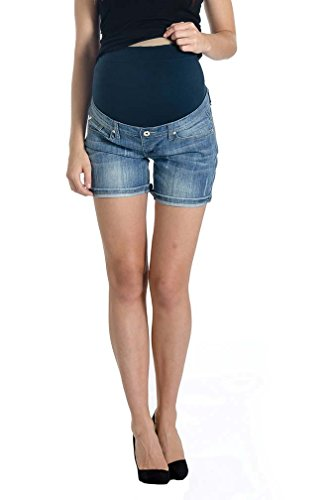 Lilac Maternity Denim Short Shorts - Medium Wash - Medium Wash - Large