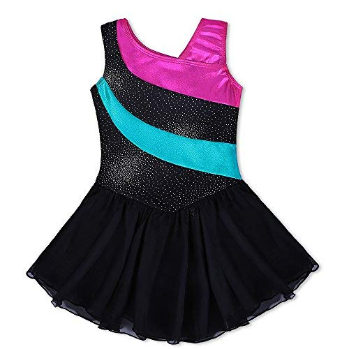Kidsparadisy Gymnastics Wrap Skirted Leotards for Girls Ribbon Ballet Costume (140(8-9Y), Black) ()