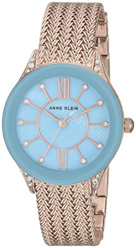 Ak Anne Klein Womens Stainless Steel Bracelet Watch - Anne Klein Women's AK/2208LBRG Swarovski Crystal Accented Rose Gold-Tone Mesh Bracelet Watch