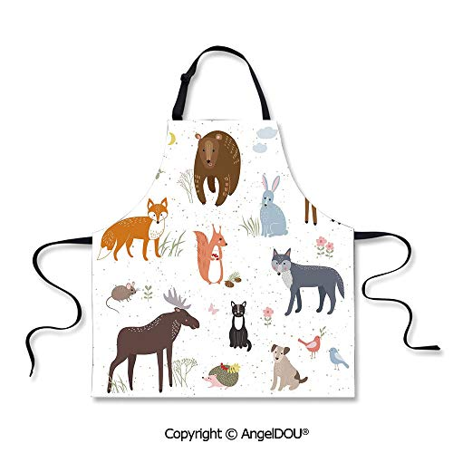 SCOXIXI Adult Kitchen Dinner Party Cooking Apron Cute Animals in Spring Meadow Childish Woodland Fauna Kids Baby Room Nursery Decorative for Kitchen Men Women use.