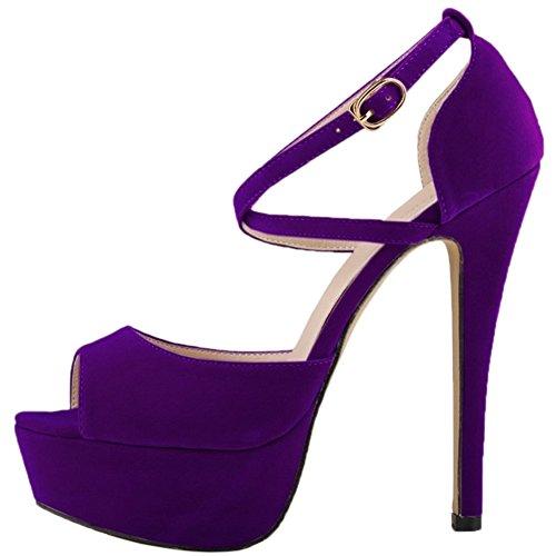 HooH Damen Stiletto Plattform High Heel Kleid Pumps Hochzeit Schuhe Slip On Violett-1