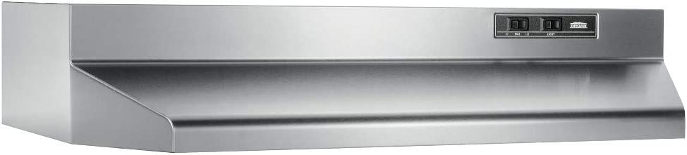 "Broan-NuTone 403004 Convertible Range Hood Insert with Light, Exhaust Fan for Under Cabinet, 30"", Stainless Steel, 6.5 Sones, 160 CFM"