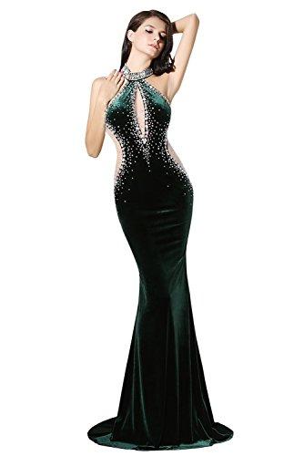 Engerla - Vestido - ajustado - Floral - Cuello redondo - Sin mangas - para mujer verde oscuro
