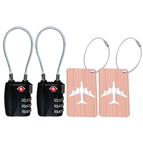 - 2 Pack TSA Luggage Lock and 2 Pack Aluminium Metal Luggage Tags, Mini Combination Password and Suitcase Card Holder Bag Tag Name Address ID Bag Label with Key Ring