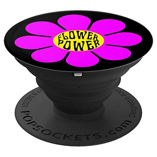 Flower Power 60's 70s Retro Vintage Hippie Gardening Purple - PopSockets Grip and Stand for Phones and Tablets ()