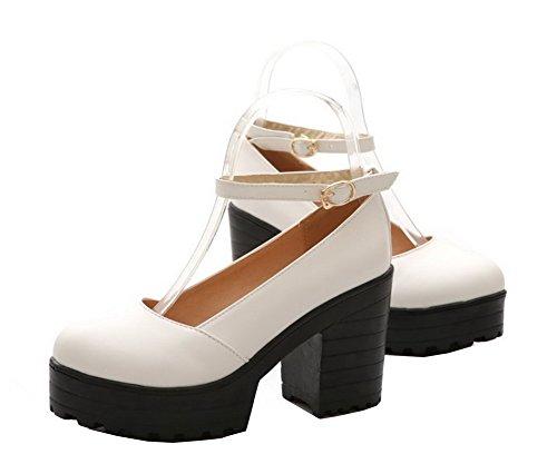 AgeeMi Donna Festa Donna Shoes Décolleté Plateau Eud81 Scarpe Blanc Fibbia Tacco e con r4BrFUq