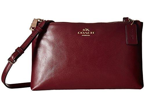 COACH Women's Leather Lyla Double Gusset Crossbody Burgundy Crossbody Bag