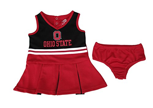 Infant Cheerleader Costumes (Ohio State Buckeyes Infant Girls 12 Months Cheerleader Costume w/ Bloomers 2-Piece)