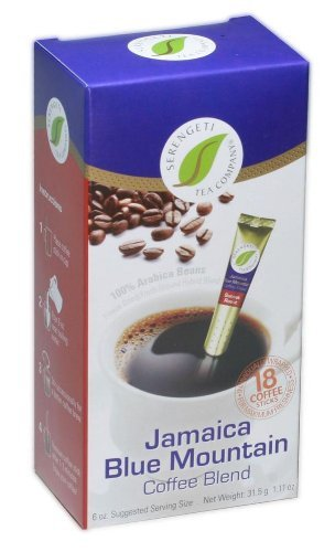 Jamaica Blue Mountain Coffee Blend Box with 18 Coffee Sticks By Serengeti Tea (Blue Mountain Coffee Instant compare prices)
