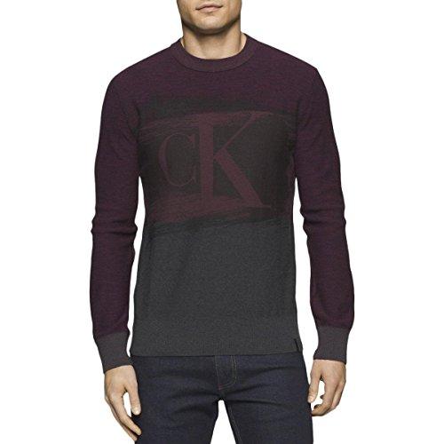 Calvin Klein Jeans Men's CK Logo Color Block Crew Neck Shirt, Faux Indigo, Large (Color Blocked Crew Neck Tee)