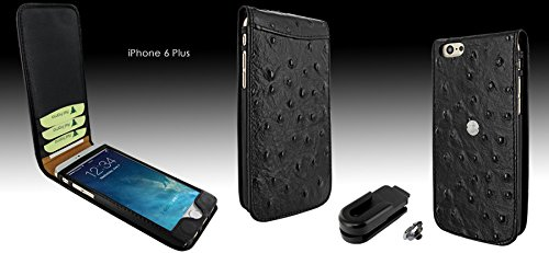 Piel Frama 689 Black Ostrich Magnetic Leather Case for Apple iPhone 6 Plus / 6S Plus by Piel Frama (Image #3)