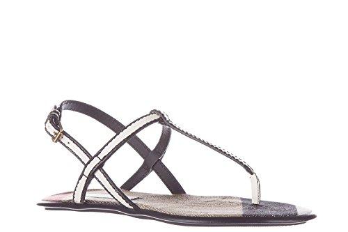 Burberry mujer zapatillas sandalias chanclas en piel nuevo blanco