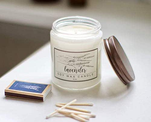 Lavender Essential Oil Candle - 8oz Soy wax aromatherapy candle