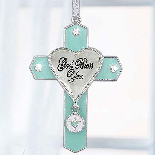 (BANBERRY DESIGNS God Bless You Jeweled Hanging Ornament Cross with Charm Metal 3