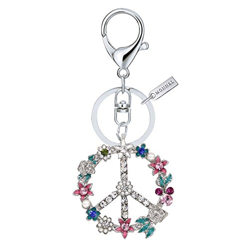 Bling Crystal Flower Peace Sign Key Ring Creative Packaging Box MZ844-1 Peace Bling