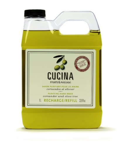 Cucina Purifying Hand Wash Refill, 33.8 Oz Plastic Jug (2, Coriander and Olive Tree) (Cucina Purifying Wash Hand)
