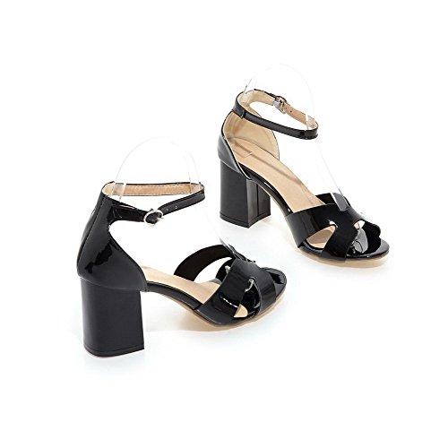 Amoonyfashion Dames Hoge Hakken Lakleer Massief Gesp Open Teen Hak-sandalen Zwart
