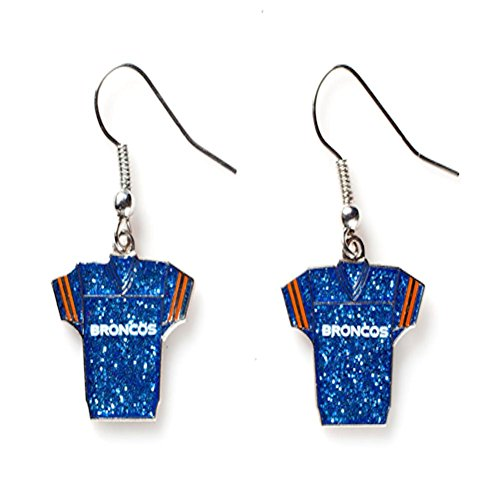 aminco Sports Team Denver Broncos Jersey Dangle Glitter Earring (Broncos Blue Jersey)