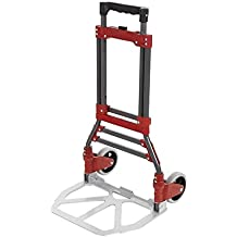 Leoneva Heavy Duty Aluminum Folding Two-Wheel Hand Truck Luggage Trolley Cart, Portable Lightweight Travel Shopping Hand Truck/Case Carrier for Indoor Outdoor,165 LBS Capacity