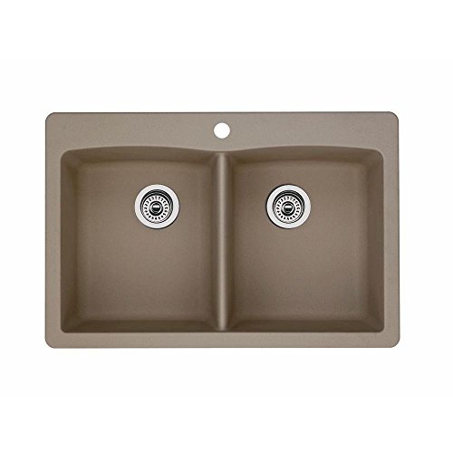 Blanco Diamond 441285 Double Basin Dual Mount SILGRANIT 80% Granite Undermount or Drop in Kitchen Sink, Truffle