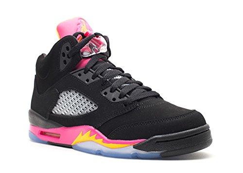 Nike Girls Air Jordan 5 Retro GS Black Bright Citrus Pink (440892-067) (3.5 M US Big Kid)