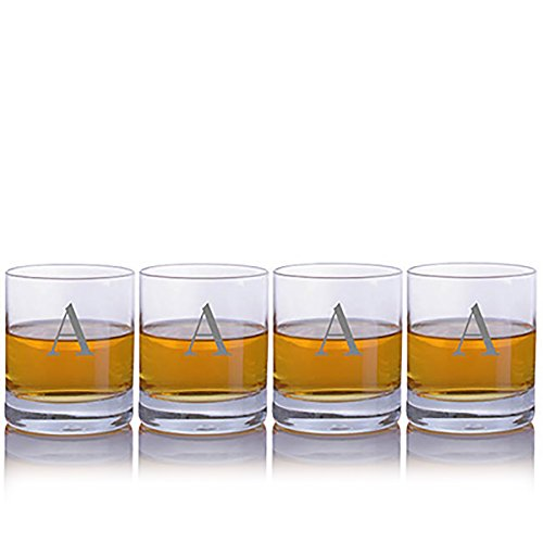(Personalized Crystalize Crystal Whiskey Rocks Glass with Titanium 4pc Set Engraved & Monogrammed - Great Holiday & Christmas Gift!)