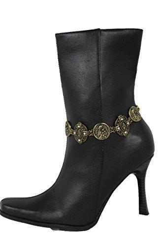 TFJ Women Western Boot Bracelet Antique Vintage Gold Metal Chain Shoe Anklet Jesus Christ Cross Charm ()