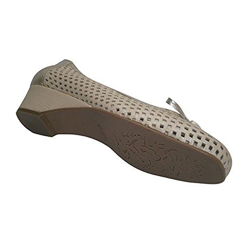 Roldan Zapato Mujer Tipo Manoletinas Calada con Cuña y Adorno Lazo Roldán EN Beig