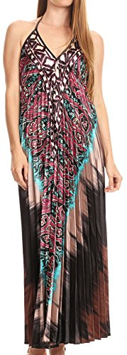 Goddess Dress Paisley - Sakkas CHH14161 - Zira Adjustable Long Pleated Empire Waist Dress Paisley Evening Satin - Fuchsia/Brown - OS