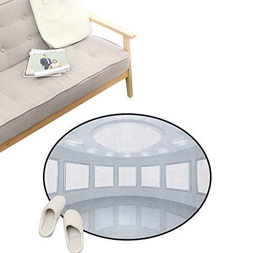 Modern Round Rug ,3D Visualization of Futuristic Interior Empty Picture Gallery Architecture Print, Flannel Microfiber Non-Slip Soft Absorbent 23