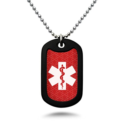 Custom Engraved Medical Alert ID Aluminum Dog Tag Necklace with Stainless Steel bead Chain MADE IN USA (Red)