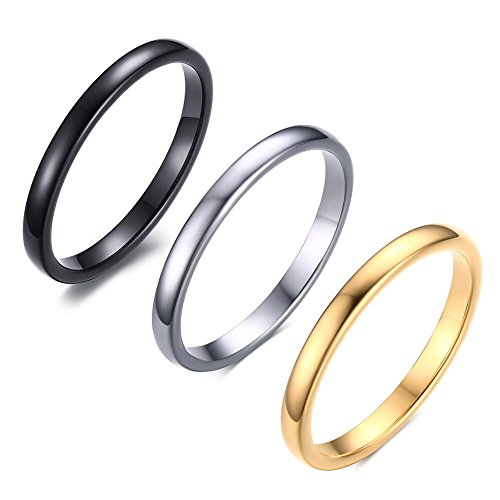 Engraving Tungsten Rings - VNOX Free Custom Engraving-3 Color Set 2mm Women's Tungsten Carbide Plain Thin Band Wedding Ring,Size 7