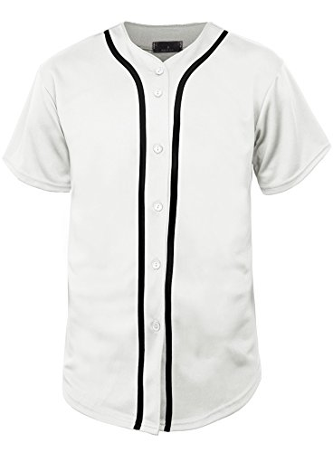 Hat and Beyond Mens Baseball Jersey Button Down T Shirts Hipster Plain Hip Hop 1UPA02 (Large, 01 White/Black)