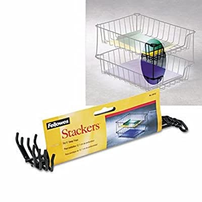 """Fellowes Desk Tray Stacking Posts for 5"""" Capacity Trays, Black, Four Posts/Set"""