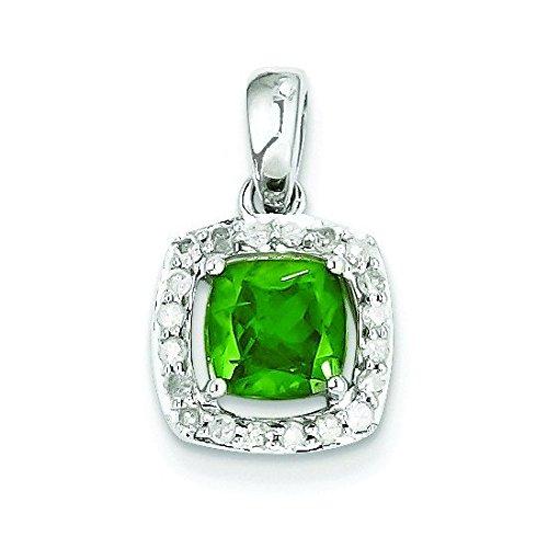 Argent Sterling diamant et Tsavorite Pendentif Femme-Carré-JewelryWeb