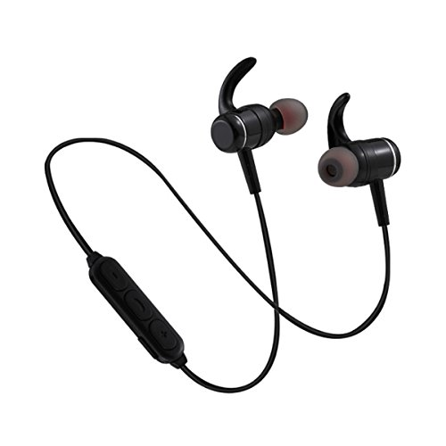 Wireless bluetooth sports headset metal magnetic stereophonic bass compatible with IOS android system (Black) by RK