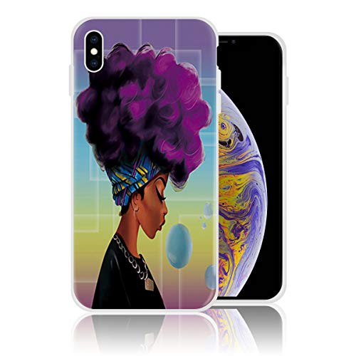 Silicone Case for iPhone 6 and iPhone 6s, African Black Women with Purple Hair Afro Hairstyle Print Printed Phone Case Shockproof Full Body Protection Anti-Scratch Drop Protection Cover]()