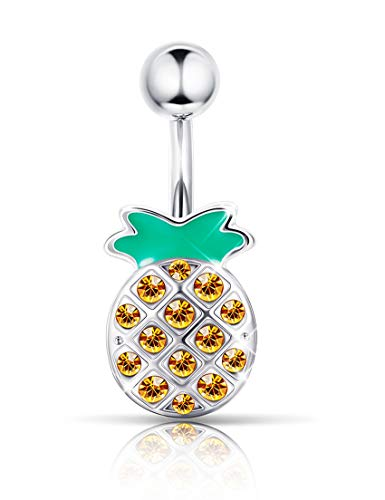 Yadoca 14G 316L Stainless Steel Pineapple Navel Ring Belly Button Rings for Women Girls Barbell Body Piercing Jewelry